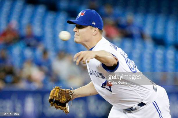 TORONTO ON MAY 10 Aaron Loup of the Blue Jays delivers a pitch during MLB action as the Toronto Blue Jays host the Seattle Mariners at the Rogers...