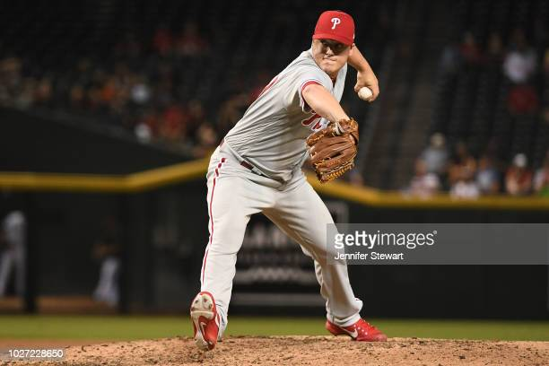 Aaron Loup of the Philadelphia Phillies delivers a pitch during the MLB game against the Arizona Diamondbacks at Chase Field on August 7 2018 in...