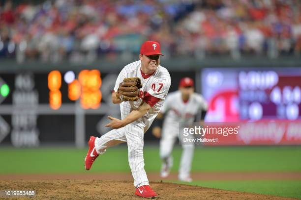 Aaron Loup of the Philadelphia Phillies delivers a pitch Miami Marlins at Citizens Bank Park on August 3 2018 in Philadelphia Pennsylvania