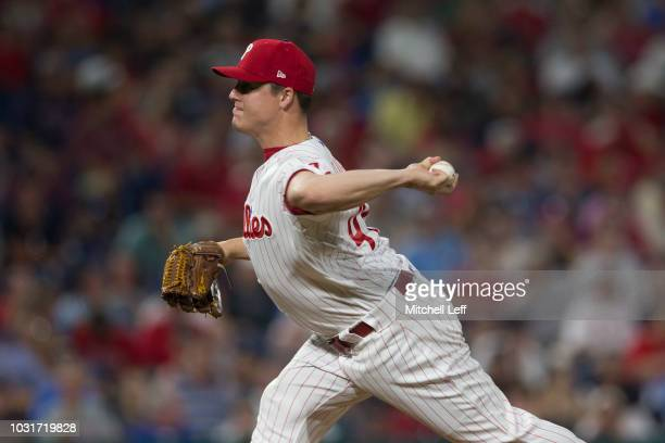 Aaron Loup of the Philadelphia Phillies pitches against the Boston Red Sox at Citizens Bank Park on August 15 2018 in Philadelphia Pennsylvania