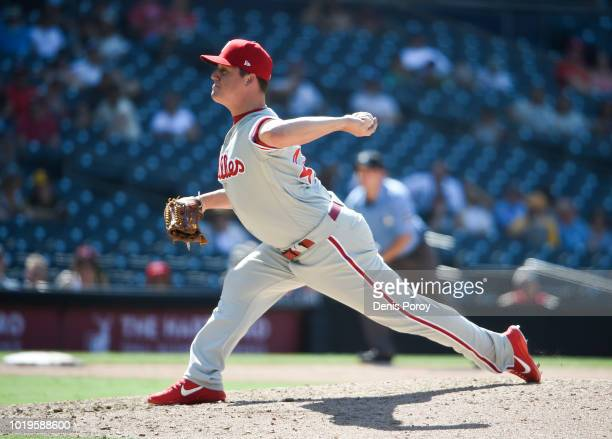 Aaron Loup of the Philadelphia Phillies pitches during a baseball game against the San Diego Padres at PETCO Park on August 12 2018 in San Diego...