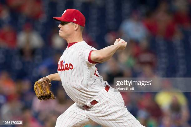 Aaron Loup of the Philadelphia Phillies throws a pitch in the top of the ninth inning against the New York Mets at Citizens Bank Park on September 19...