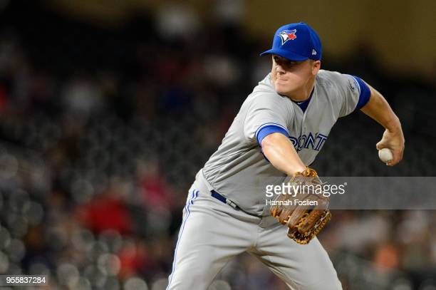 Aaron Loup of the Toronto Blue Jays delivers a pitch against the Minnesota Twins during the game on April 30 2018 at Target Field in Minneapolis...