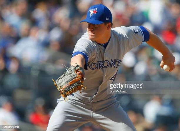 Aaron Loup of the Toronto Blue Jays in action against the New York Yankees at Yankee Stadium on April 21 2018 in the Bronx borough of New York City...