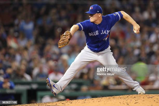 Aaron Loup of the Toronto Blue Jays pitches against the Boston Red Sox during the fifth inning at Fenway Park on May 29 2018 in Boston Massachusetts