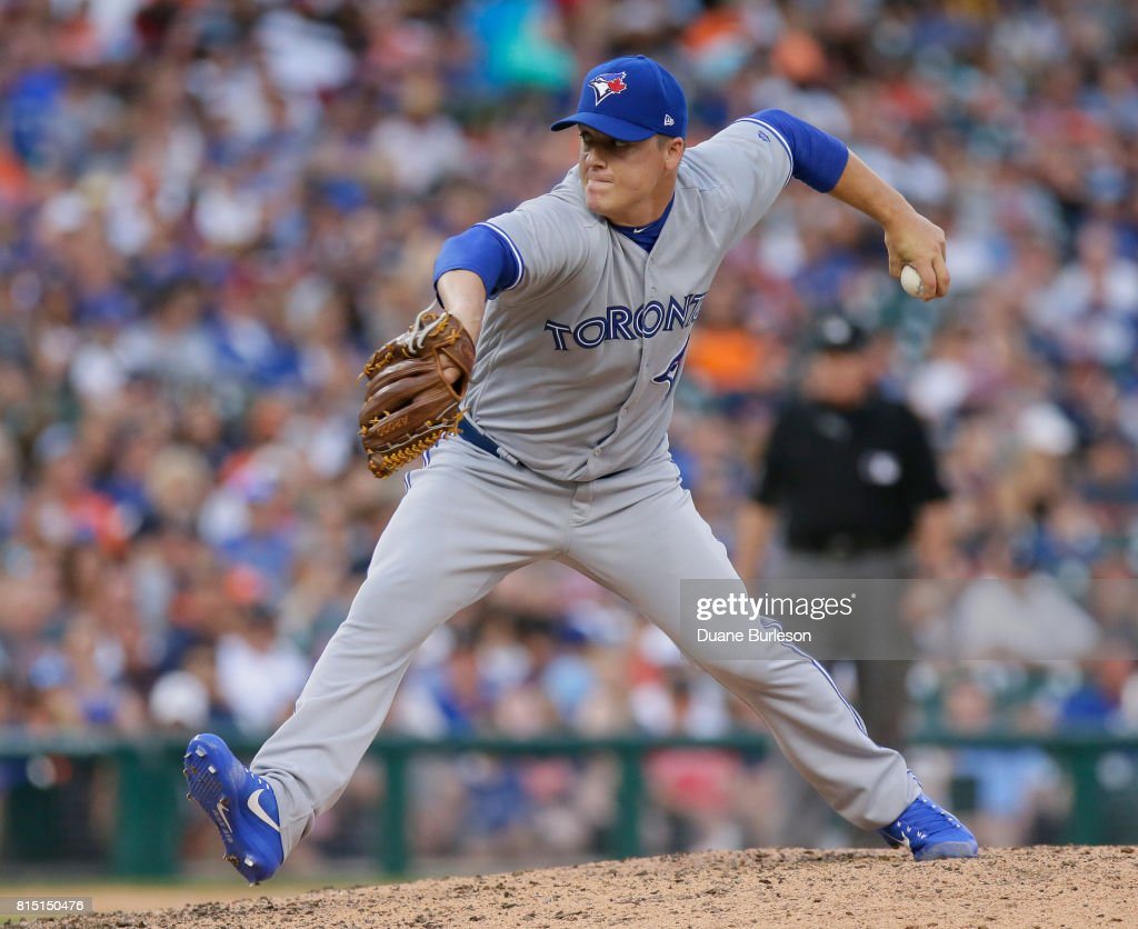 Aaron Loup #62 of the Toronto Blue Jays pitches against the Detroit Tigers during the eighth inning at Comerica Park on July 15, 2017 in Detroit, Michigan.