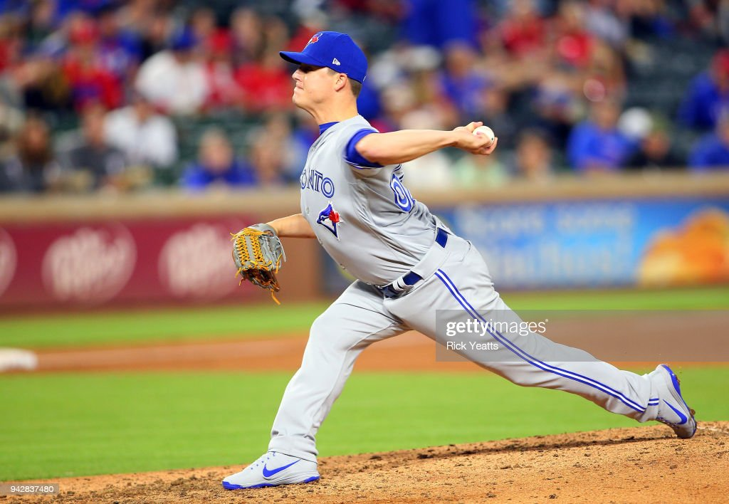 Aaron Loup #62 of the Toronto Blue Jays throws in the seventh inning against the Texas Rangers at Globe Life Park in Arlington on April 6, 2018 in Arlington, Texas.