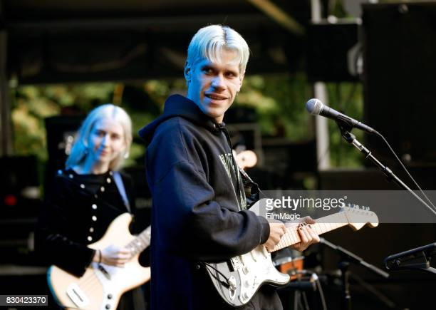 Aaron Maine of Porches performs on the Sutro Stage during the 2017 Outside Lands Music And Arts Festival at Golden Gate Park on August 11 2017 in San...
