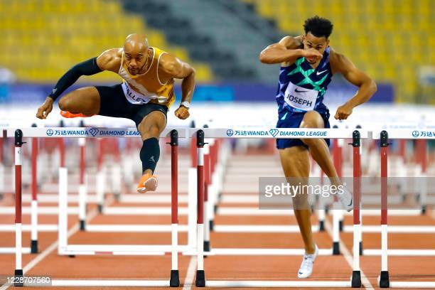 Aaron Mallet and Switzerland's Jason Joseph compete in the Men's 110m hurdles during the IAAF Diamond League competition on September 25, 2020 at the...