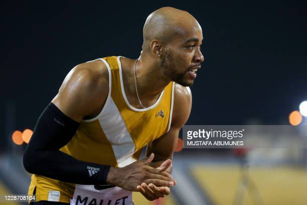 Aaron Mallet celebrates after winning the Men's 110m hurdles during the IAAF Diamond League competition on September 25, 2020 at the Suheim Bin Hamad...