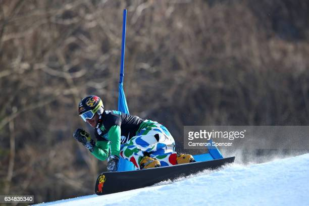 Aaron March of Italy competes in the FIS Freestyle World Cup Parallel Giant Slalom Mens Final at Bokwang Snow Park on February 12 2017 in...