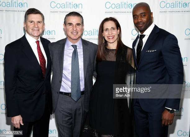 Aaron Marcu Alain Kodsi Rachel Foster and Curtis Martin Jr are seen during the Coalition Against Trafficking in Women 2018 Gala at Tribeca 360 on...