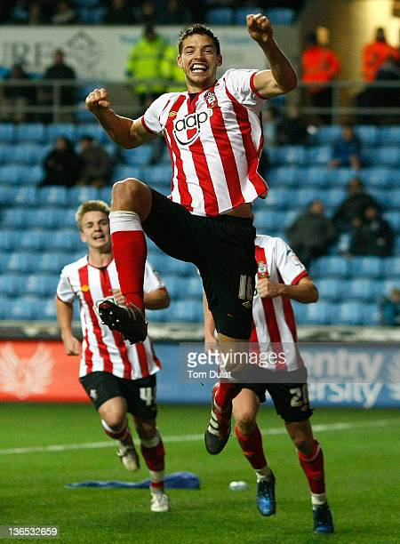 Aaron Martin of Southampton celebrates after scoring his side's second goal during the FA Cup 3rd round match between Coventry City and Southampton...