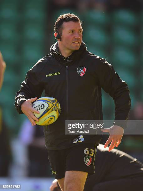 Aaron Mauger coach of Leicester Tigers during the Aviva Premiership match between Northampton Saints and Leicester Tigers at Franklin's Gardens on...