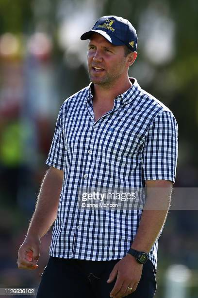 Aaron Mauger coach of the Highlanders looks on prior to the preseason Super Rugby match between the Highlanders and the Waratahs on February 01 2019...