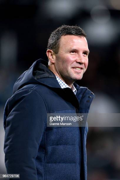 Aaron Mauger head coach of the Highlanders looks on ahead of the round 16 Super Rugby match between the Highlanders and the Hurricanes at Forsyth...