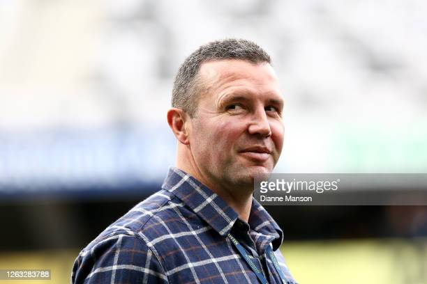 Aaron Mauger head coach of the Highlanders looks on ahead of the round 8 Super Rugby Aotearoa match between the Highlanders and the Blues at Forsyth...