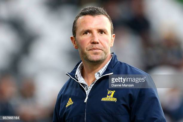 Aaron Mauger head coach of the Highlanders looks on ahead of the round five Super Rugby match between the Highlanders and the Crusaders at Forsyth...