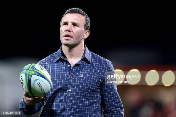 Aaron Mauger head coach of the Highlanders looks on prior to the the Super Rugby Quarter Final match between the Crusaders and the Highlanders at...