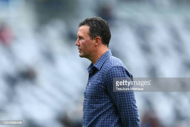 Aaron Mauger of the Highlanders looks on before the round 2 Super Rugby match between the Highlanders and the Sharks at Forsyth Barr Stadium on...