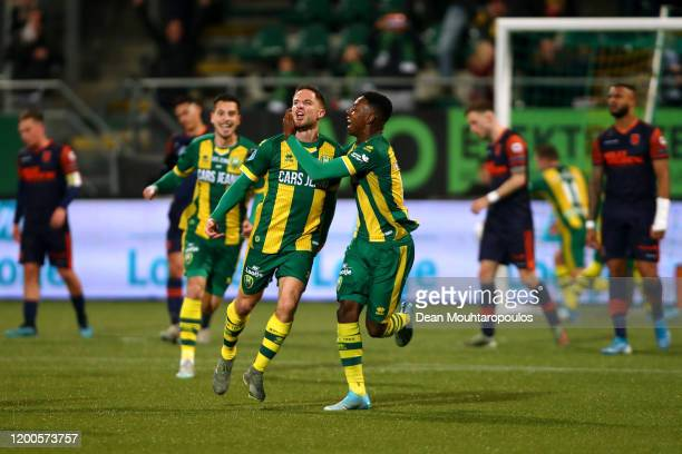 Aaron Meijers of ADO Den Haag celebrates scoring his teams second goal of the game with team mates during the Eredivisie match between ADO Den Haag...