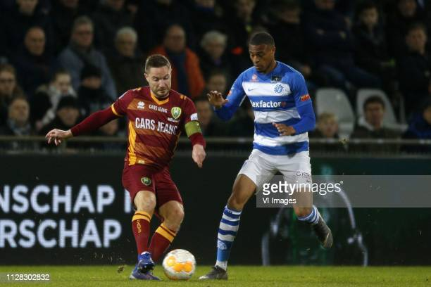 Aaron Meijers of ADO Den Haag Delano Burgzorg of De Graafschap during the Dutch Eredivisie match between De Graafschap Doetinchem and ADO Den Haag at...