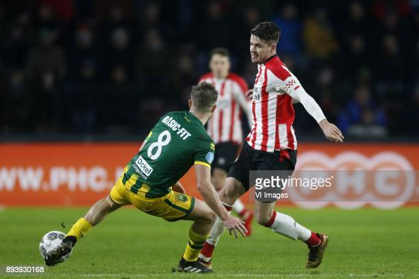 Aaron Meijers of ADO Den Haag Marco van Ginkel of PSV during the Dutch Eredivisie match between PSV Eindhoven and ADO Den Haag at the Phillips...