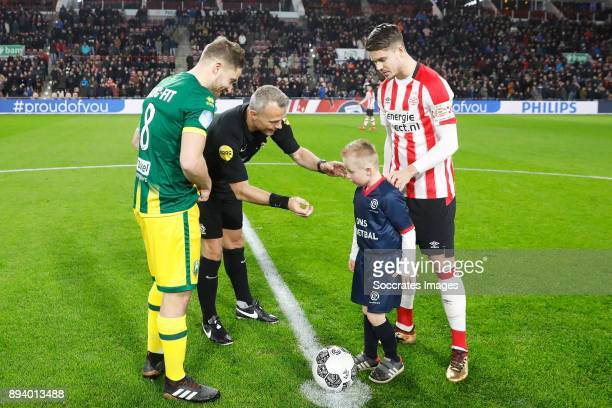 Aaron Meijers of ADO Den Haag Referee Bjorn Kuipers Marco van Ginkel of PSV during the Dutch Eredivisie match between PSV v ADO Den Haag at the...