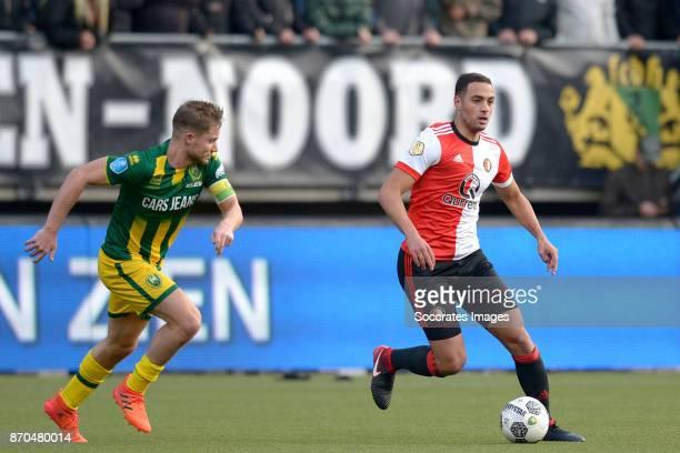 Aaron Meijers of ADO Den Haag Sofyan Amrabat of Feyenoord during the Dutch Eredivisie match between ADO Den Haag v Feyenoord at the Cars Jeans...
