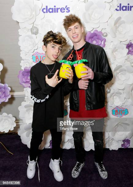 Aaron Melloul and Blake Gray attend Claire's Dream Big Awards at the Beverly Hills Hotel on April 12 2018 in Beverly Hills California
