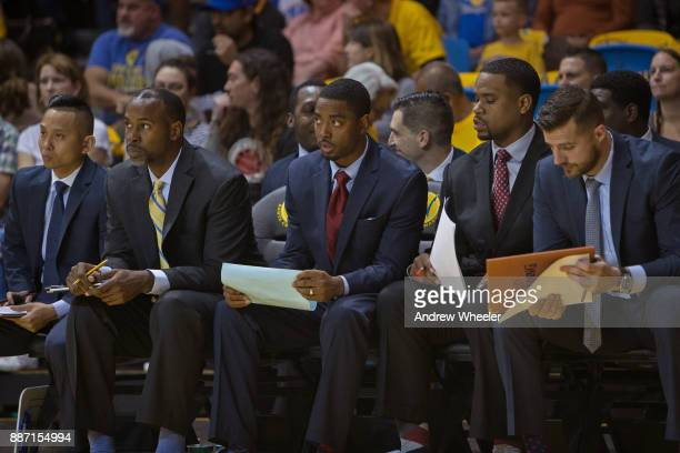 Aaron Miles of the Santa Cruz Warriors coaches against the South Bay Lakers during an NBA GLeague game on November 4 2017 at Kaiser Permanente Arena...