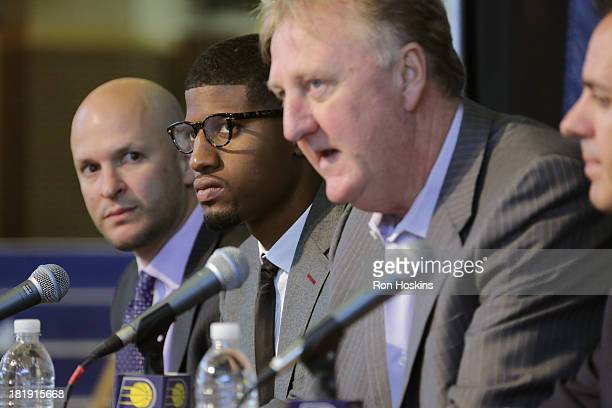 Aaron Mintz George's Agent Paul George and Larry Bird the President of Basketball Operations of the Indiana Pacers speak during a press conference...