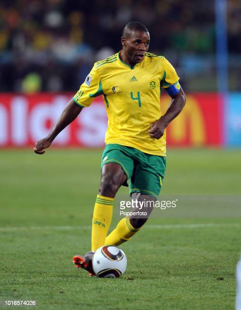 Aaron Mokoena of South Africa in action during the 2010 FIFA World Cup Group A match between South Africa and Uruguay at Loftus Versfeld Stadium in...