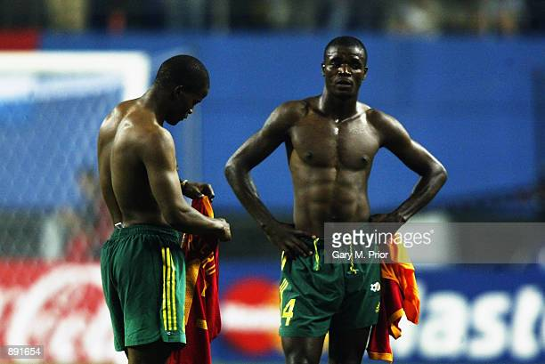Aaron Mokoena of South Africa is dejected after the Spain v South Africa Group B World Cup Group Stage match played at the Daejeon World Cup Stadium...