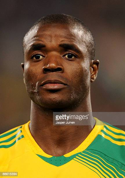 Aaron Mokoena of South Africa prior to the FIFA Confederations Cup match between Spain and South Africa at Free State Stadium on June 20 2009 in...
