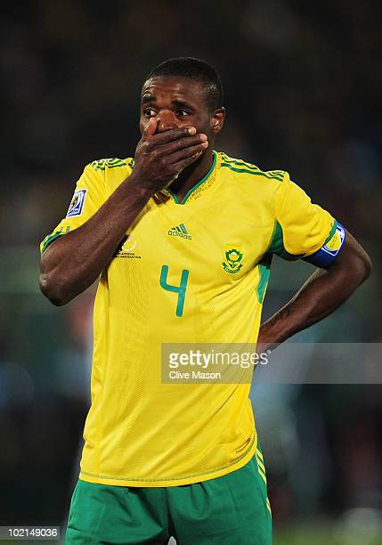 Aaron Mokoena of South Africa reacts during the 2010 FIFA World Cup South Africa Group A match between South Africa and Uruguay at Loftus Versfeld...