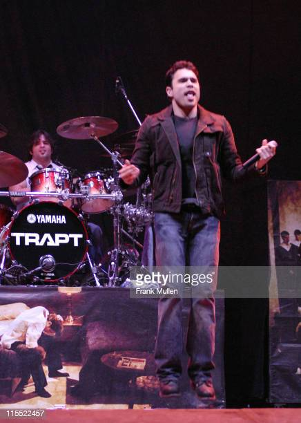 Aaron Montgomery and Chris Brown during Trapt in Concert at Gwinnett Center in Duluth March 17 2006 at Arena at Gwinnett Center in Duluth Georgia...