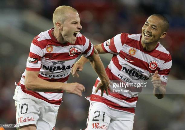 Aaron Mooy and Shinji Ono of the Wanderers celebrate a goal during the round 17 ALeague match between Newcastle Jets and the Western Sydney Wanderers...