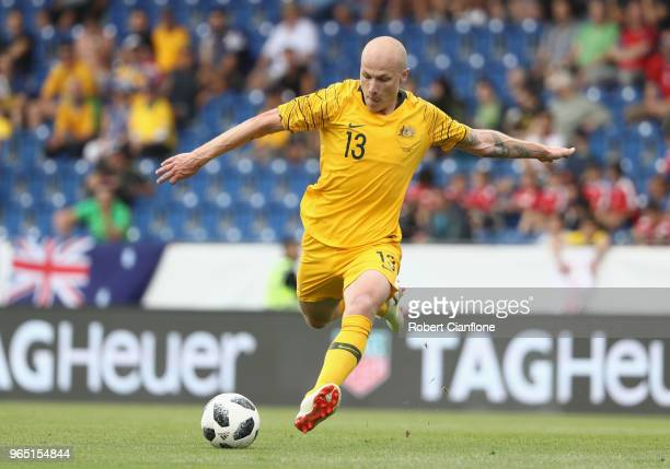 Aaron Mooy of Australia attempts a shot on goal during the International Friendly match between the Czech Republic and Australia Socceroos at NV...