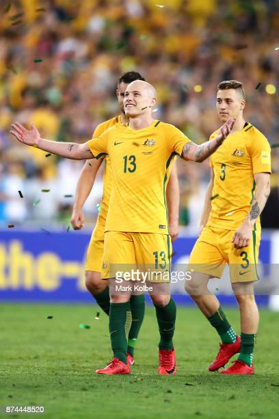 Aaron Mooy of Australia celebrates victory during the 2018 FIFA World Cup Qualifiers Leg 2 match between the Australian Socceroos and Honduras at ANZ...