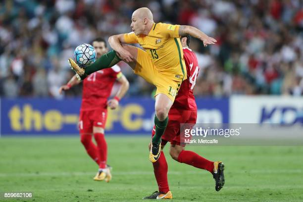 Aaron Mooy of Australia controls the ball during the 2018 FIFA World Cup Asian Playoff match between the Australian Socceroos and Syria at ANZ...