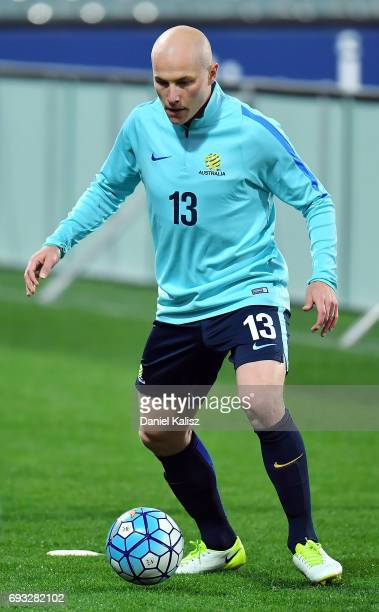 Aaron Mooy of Australia controls the ball during the Australian Socceroos training session at the Adelaide Oval on June 7 2017 in Adelaide Australia