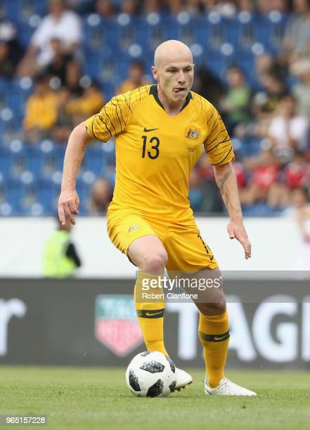 Aaron Mooy of Australia controls the ball during the International Friendly match between the Czech Republic and Australia Socceroos at NV Arena on...