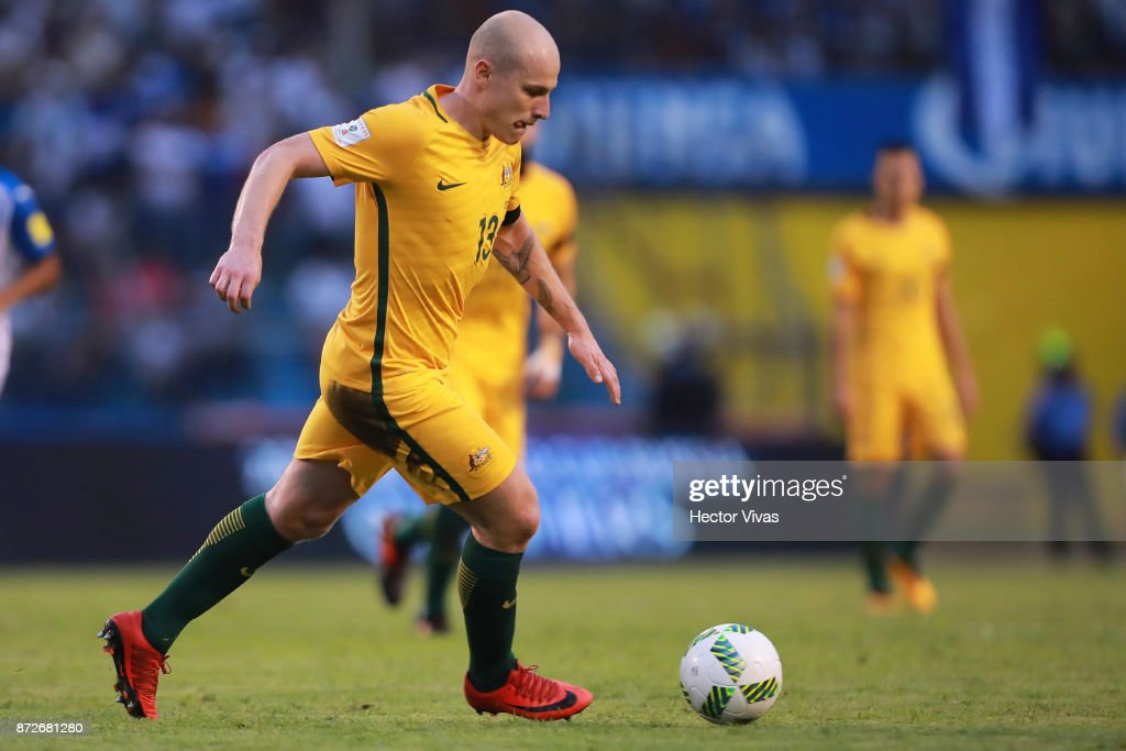 Aaron Mooy of Australia drives the ball during a first leg match between Honduras and Australia as part of FIFA World Cup Qualifiers Play Off at Estadio Olimpico Metropolitano on November 10, 2017 in San Pedro Sula, Honduras.