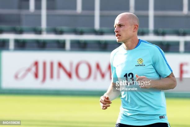 Aaron Mooy of Australia in action during an Australia training session at Ajinomoto Field Nishigaoka ahead of the FIFA World Cup qualifier against...