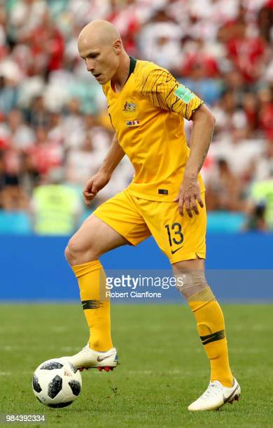 Aaron Mooy of Australia in action during the 2018 FIFA World Cup Russia group C match between Australia and Peru at Fisht Stadium on June 26 2018 in...