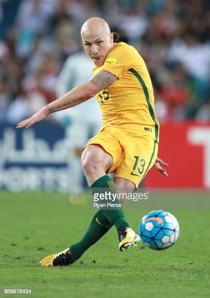 Aaron Mooy of Australia kicks during the 2018 FIFA World Cup Asian Playoff match between the Australian Socceroos and Syria at ANZ Stadium on October...