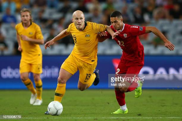 Aaron Mooy of Australia kicks the ball during the International Friendly Match between the Australian Socceroos and Lebanon at ANZ Stadium on...