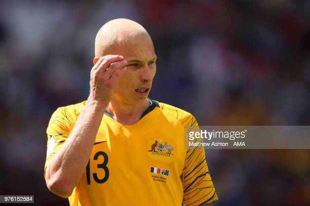 Aaron Mooy of Australia looks on during the 2018 FIFA World Cup Russia group C match between France and Australia at Kazan Arena on June 16 2018 in...