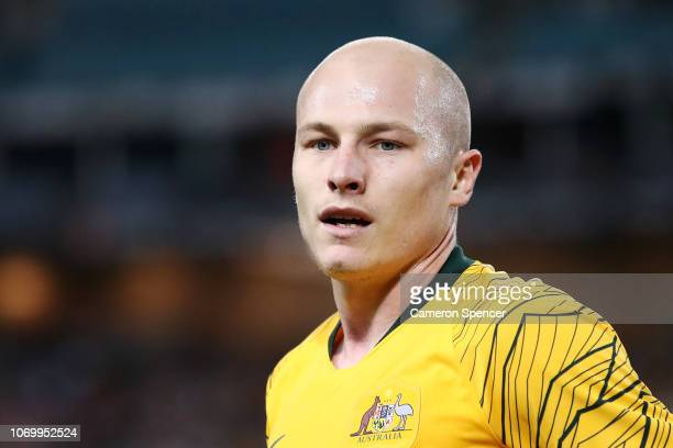 Aaron Mooy of Australia looks on during the International Friendly Match between the Australian Socceroos and Lebanon at ANZ Stadium on November 20...
